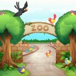 Stock Vector: Zoo scene