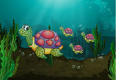 Onderwater schildpadden — Stockvector
