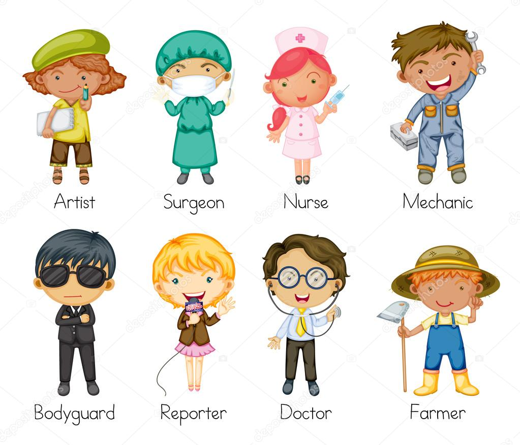 Illustration of a jobs and professions — Vettoriali Stock  #13925352