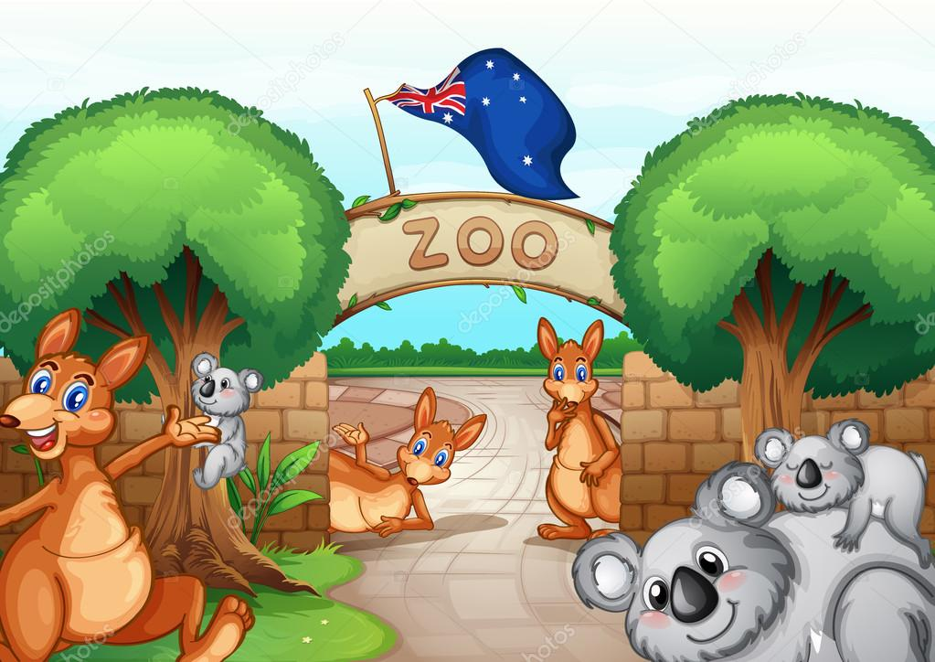 Illustration of a zoo scene  Zoo