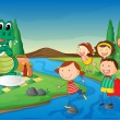 A river, a dinosaur and kids - Stock Vector