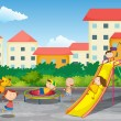 Kids playing outdoor — Stock Vector