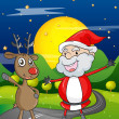 Royalty-Free Stock Vector Image: A santa claus and a reindeer