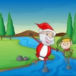 A santa claus and a boy — Stock Vector #13995322