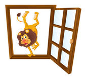 A lion in the window — Stock Vector