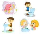 Kids and bathroom accessories — Stock Vector