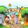 A zoo and the animals - Stock Vector