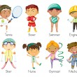 Sports kids - Stock Vector