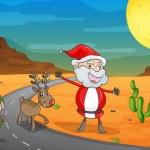 A boy, a santa claus and a reindeer — Stock Vector #14035056