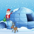 An igloo and a santa clause - Stock Vector