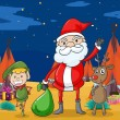A boy, a reindeer and santaclause — Stockvektor
