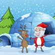 A reindeer and santaclause — Stock Vector