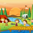 A river, a bench and kids — Stock Vector