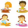 Stock Vector: Four kids having food