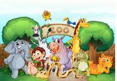 Bir hayvanat bahçesi ve hayvanlar — Stok Vektör