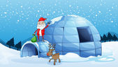 An igloo and a santa clause — Stock Vector