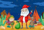 A boy, a reindeer and santaclause — Stock Vector