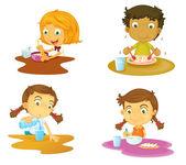 Cuatro niños comiendo — Vector de stock