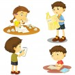 Stock Vector: Four kids