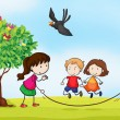 Royalty-Free Stock Vector Image: kids and a tree