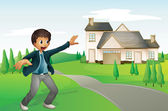 A boy and a house — Stock Vector