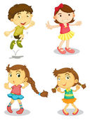 Four kids — Stock Vector