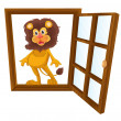Stock Vector: A lion in a window