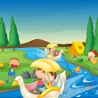 A river and kids — Stock Vector