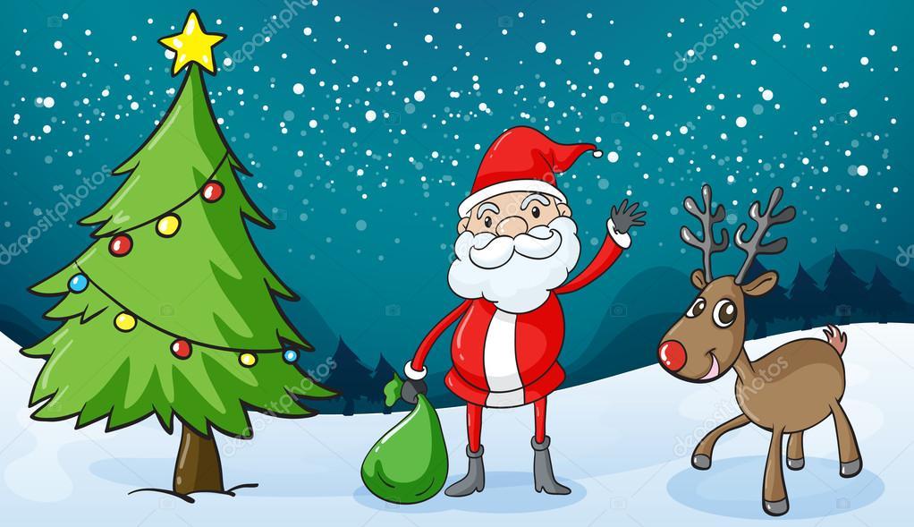 驯鹿和圣诞老人的详细的说明
