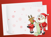 Paper sheets, santa claus and reindeer — Stock Vector