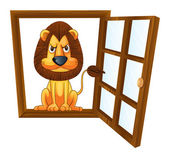A lion in a window — Stock Vector