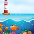 A light house, fishes and coral in sea - Stock Vector