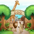 Stock Vector: A zoo and the animals