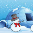 An igloo and snowmen — Stock Vector