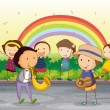 Royalty-Free Stock Vektorfiler: Kids playing music