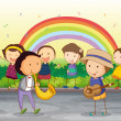 Royalty-Free Stock Immagine Vettoriale: Kids playing music