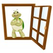 Stock Vector: A tortoise in window