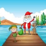 A boy, a santa claus and a reindeer — Stock Vector #14275279
