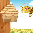 Stock Vector: Honey bee and wooden house