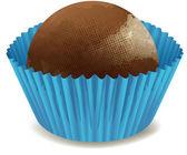 Bombones de chocolate en taza azul — Vector de stock