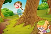 Děvčata hrají v přírodě — Stock vektor