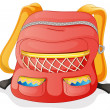 A red school bag - Stock Vector