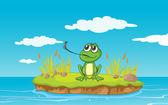一只青蛙和水 — 图库矢量图片