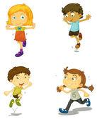 Quatre enfants — Vecteur