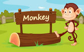 Monkey in a zoo — Stock Vector