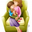 Mom and kid - Stock Vector