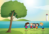 Kids playing in nature — Stock Vector