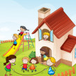 Stock Vector: Kids and a house