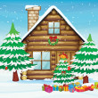 Snowmen and house - Stock Vector