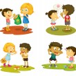 Kids with various activities - Stock Vector